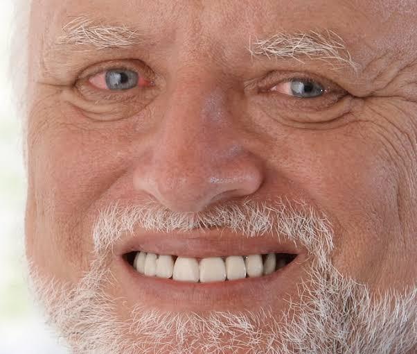 Old man fake smile meme